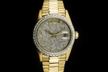 Rolex Day-Date (36mm) Ref.: 18038 in 18k Gelbgold mit Pavé Diamant-Zifferblatt aus ca. 1979