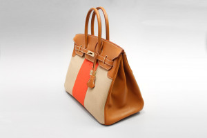 Hermès Birkin Flag Bag (35cm) Tan Barenia Braun & Orange Toile mit OVP