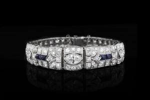 Antikes Platinarmband mit Saphiren & Diamanten (ca. 12ct) | Platin