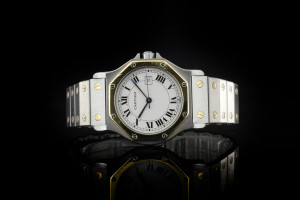 Cartier Santos (30mm) Quarz in Stahl & Gelbgold mit Box & Papieren