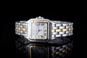 Cartier Panthère (26x36mm) in Stahl & Gelbgold Damenuhr mit weißem Zifferblatt