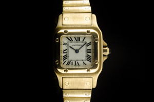 Cartier Santos (24x35mm) Quarz in Gelbgold mit Box