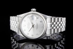 Rolex Datejust (36mm) Ref.: 16014 mit silbernem Diamantzifferblatt und Plexiglas aus 1985