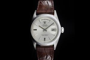 Rolex Day-Date (36mm) Ref.: 1803 in 18k Weißgold mit Lederband & Plexiglas aus 1966