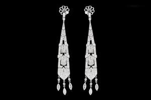 Diamantohrringe im Vintage Stil (ca. 4,69ct.) | 18k Weißgold