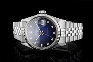Rolex Datejust (36mm) Ref.: 16030 mit Diamantzifferblatt in Blau