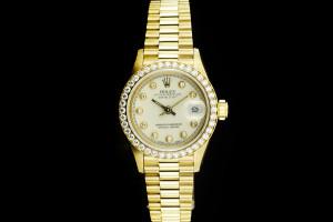 Rolex Lady Datejust (26mm) Ref.: 69138 in Gelbgold mit orig. Diamantbesatz, Box & Papiere aus 1996