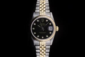 Rolex Datejust Medium (31mm) Ref.: 68273 in Stahl-Gold mit schwarzem Diamantzifferblatt aus 1988