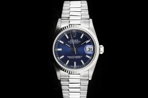 Rolex Datejust Medium (31mm) Ref.: 68279 in Weissgold mit blauem Zifferblatt aus 1991
