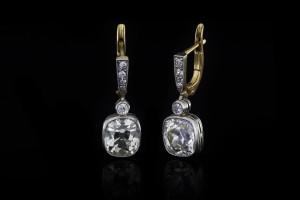 Antike Diamantohrringe (ca. 2ct & 2ct) | 14k Gelbgold
