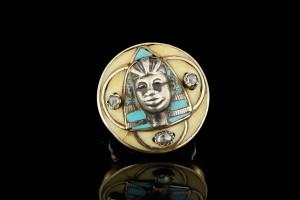 Gold/Silberring von Guido Carbonich mit Pharao Motiv und 3 Diamanten