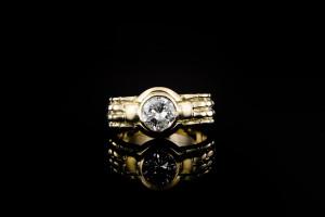 Gelbgoldring mit einem ca. 1,0ct. Diamanten