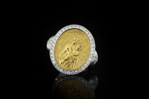 Platinring mit einem Siegel (900er Gelbgold) und ca.0,75ct. Diamanten