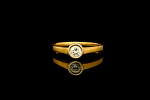 Solitaire Diamantring (ca. 0,20ct) | 18k Gelbgold