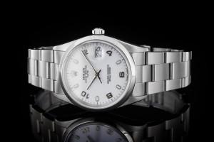 Rolex Date (34mm) Ref.: 15200 aus 1991 mit weißem Zifferblatt und glatter Lünette