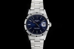 Rolex Date (34mm) Ref.: 15210 mit blauem Zifferblatt Box & Papiere (LC100) aus 2002 Full Set