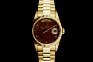 Rolex Day-Date (36mm) Ref.: 18238 in 18k Gelbgold mit Wood Zifferblatt Box & Papiere aus 1990