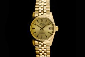 Rolex Datejust Medium (31mm) Ref.: 6827 in Gelbgold mit champagner Zifferblatt Papiere aus 1983