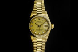 Rolex Lady Datejust (26mm) Ref.: 69178 in 18k Gelbgold mit Diamantzifferblatt aus mit Papieren aus 1982