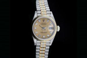 Rolex Lady Datejust (26mm) Ref.: 69179B in Tridor mit champagner Diamant-Zifferblatt aus 1985