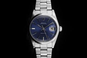 Rolex Oysterdate (34mm) Ref.: 6694 aus 1977 mit blauem Zifferblatt, Plexiglas und Handaufzug