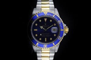 Rolex Submariner (40mm) Ref.: 16803 in Stahl Gold mit blauem Zifferblatt aus ca. 1985
