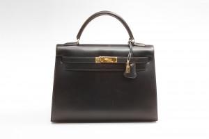Hermès Kelly Bag (32cm) in schwarzem Leder