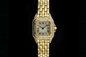 Cartier Panthère (30x22mm) in Gelbgold mit orig. Diamantbesatz Box & Papiere