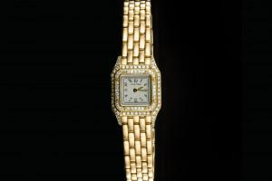 Cartier Panthère Mini (17mm) in 18k Gelbgold mit Diamantbesatz