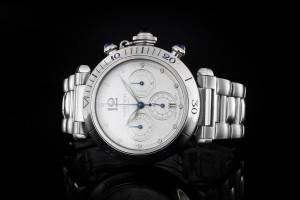 Cartier Pasha (38mm) Ref.: W31030H3 Chronograph & Weißem Zifferblatt