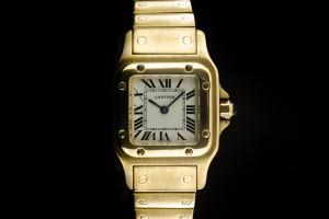 Cartier Santos (24x35mm) Quarz in Gelbgold mit Box