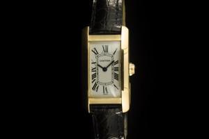 Cartier Tank Américaine (35x19mm) Quartz in 18k Gelbgold mit Papieren aus 1997