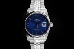 Rolex Datejust (36mm) Ref.: 16234 mit blauem Zifferblatt, Saphirglas & Weißgoldlünette aus 1990