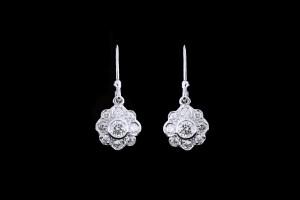 Diamantohrringe Floral (0,4ct) | 18k Weißgold