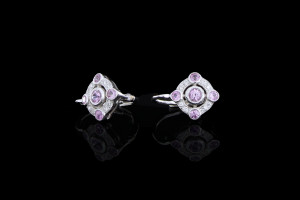 Diamantohrringe Wish mit Saphiren (0,06ct) | 18k Weißgold