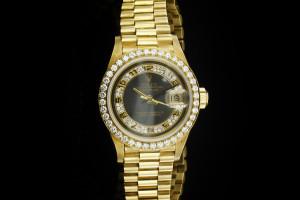 Rolex Lady Datejust (26mm) Ref.: 69138 in Gelbgold mit orig. Diamantbesatz, Box & Papiere aus 1993