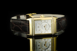 Jager-LeCoultre Reverso Duetto (23x33mm) Ref.: 256.1.75 in Gelbgold mit Diamantbesatz