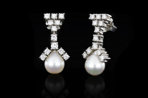 Perlenohrringe mit Diamanten (ca. 1,0ct) | 18k Weißgold