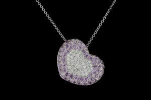 Herzanhänger mit pinken Diamanten (ca. 2,0ct) | 18k Weißgold