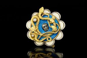 Guido Carbonich Floraler Totenkopf Ring mit Diamanten