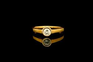 Solitaire Diamantring (ca. 0,20ct) | 18k Gelbgold