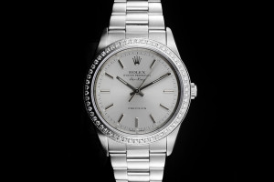 Rolex Air-King (34mm) Ref.: 14010 mit silbernem Zifferblatt & Diamantlünette aus 1997