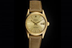Rolex Date (34mm) Ref.: 15038 in Gelbgold mit Lederband aus 1982