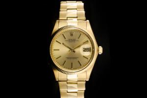 Rolex Date (34mm) Ref.: 1503 in Gelbgold mit Vintage Nietenband