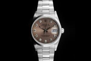 Rolex Date (34mm) Ref.: 15200 aus 1991 Aftermarket Diamant-Zifferblatt in Pink und glatter Lünette