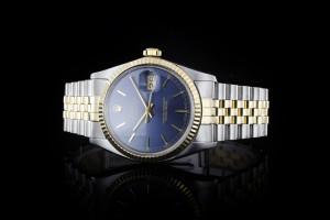Rolex Datejust (36mm) Ref.: 16013 in Stahl-Gold mit blauem Zifferblatt mit Papieren aus 1983 (LC100)
