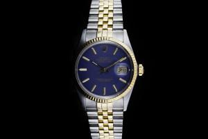 Rolex Datejust (36mm) Ref.: 16013 in Stahl-Gold mit blauem Zifferblatt mit Papieren (LC100) aus 1987