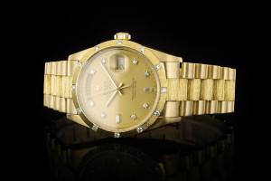 Rolex Day-Date (36mm) Ref.: 18108 in 18k Gelbgold Borke Diamant Zifferblatt mit Papieren aus 1988