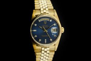 Rolex Day-Date (36mm) Ref.: 18238 in 18k Gelbgold mit blauem Diamant-Zifferblatt, Papiere aus 1992