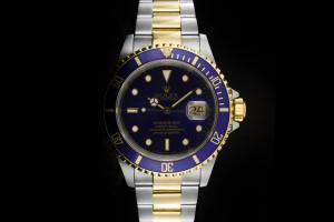 Rolex Submariner (40mm) Ref.: 16613 in Stahl Gold mit blauem Zifferblatt Box & Service-Papiere aus 1991